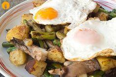 Patatas Salteadas con Huevo a la Plancha Una de las ventajas de la cocción a la plancha es que apenas tenemos que añadir aceite, u otro tipo de grasa, para