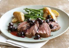 Beef with Brandy Blueberries Flambé: Try this impressive blueberry flambé with almost any steak or grilled beef. The warm mixture of blueberries, thyme, butter and sugar is enriched with the addition of brandy. Be careful to flambé off the heat of your stove.