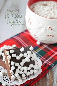 These simple 3-Ingredient Hot Cocoa Squares are so easy to make, just drop one in a mug of hot milk and you're good to go!