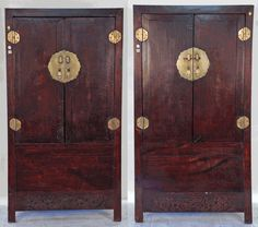 Antique Asian Furniture: Red Lacquered Cabinet Armoire from Shanxi ...