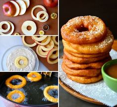 Apple Fritter Rings with Caramel Sauce