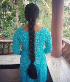 Girl Hairstyles, Braided Hairstyles, Indian Long Hair Braid, Beautiful Suit, Braids For Long Hair, Beautiful Indian Actress, Indian Actresses, Short Sleeve Dresses, Feminine