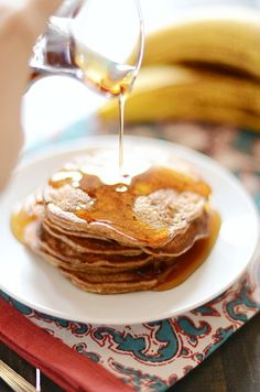 These pancakes are gluten free, dairy free, whole 30 compliant, and super duper good for you all the way around. And they're delicious!
