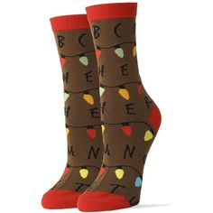 Oooh Yeah Socks ! -Womens Crew Stranger things at Amazon Women's... ($7) ❤ liked on Polyvore featuring intimates, hosiery, socks, wide socks and crew socks