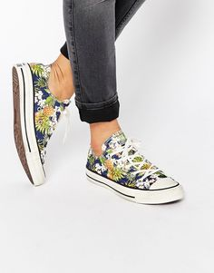 Image 1 of Converse All Star Chuck Taylor Tropical Print Ox Plimsoll Trainers