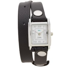 La Mer Collections Leather Strap Wrap Watch ($78) ❤ liked on Polyvore featuring jewelry, watches, dial watches, la mer watches, wrap watch, leather-strap watches and leather band watches