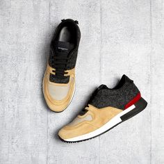 Active line knot trainers | Givenchy   Givenchy's Active Line trainers are crafted in Italy from a tactile combination of tan suede, red leather, and charcoal felt.