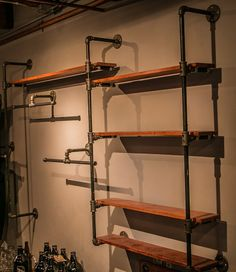 Custom made iron pipe bookshelf. Size, width and wood color are customizable. This listing includes pipes, fittings and wooden shelves. Mounting screws not included. Easy do it yourself shelving unit. Steampunk Shelves, Steampunk Kitchen, Pipe Furniture, Industrial Furniture, Furniture Design, Bar Shelves, Wooden Shelves, Pipe Bookshelf, Iron Pipe Shelves