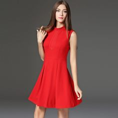 Pleated Sleeveless Fashion Collar Autumn Slimming Red Women Casual Dress