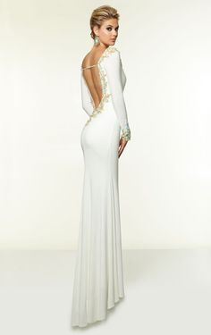 Sheath Backless Floor Length V-Neck Prom Dress With Long Sleeves White