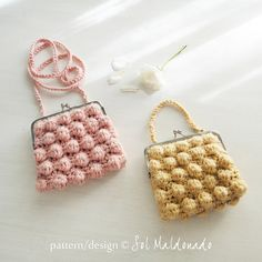 PDF Crochet Bag Pattern Zoe bubble - easy PHOTO TUTORIAL - recipe for any purse frame size - boho bag, coin, pouch, purse crochet pattern