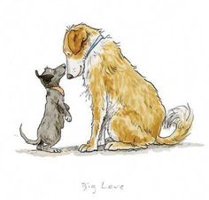 dog art Big Love Print by Anita Jeram Art Pantry - dog Animal Drawings, Cute Drawings, Dog Drawings, Dog Sketches, Anita Jeram, Dog Illustration, Animal Illustrations, Dog Paintings, Big Love