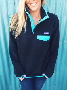 Patagonia Women's Lightweight Synchilla Snap-T Pullover- Black and Ultramarine
