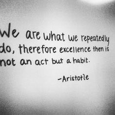 Somos lo que hacemos repetidamente, por lo tanto, la excelencia no es un acto, sino un hábito.