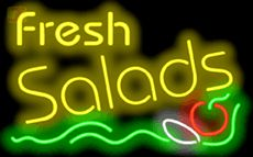 Our - Fresh Salads Neon Sign will immediately begin making an impression with potential customers at your business, or with friends and family at your home. Salad Bar, Soup And Salad, Neon Food, Slaw Dressing, Chili Cook Off, Fruits And Veggies, Fresh Fruit, Signage, Neon Signs