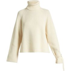 Joseph Tie-cuff ribbed-knit wool sweater ($410) ❤ liked on Polyvore featuring tops, sweaters, ivory, ribbed knit sweater, tie sweater, chunky sweaters, joseph sweater and chunky white sweater