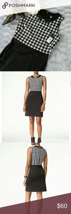 Tommy Hilfiger Hounds tooth shift dress NWT ! Tommy Hilfiger Hounds tooth Shift Dress Chic details make this dress from Tommy Hilfiger a fun workweek pick. Hidden back zipper with hook & eye clousure. Hits above knee Faux leather collar Dry Clean Tommy Hilfiger Dresses