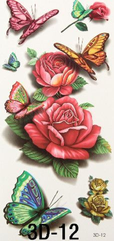 Set of Rose & Butterfly Watercolor Tattoos *** Listing is for one sheet of high quality tattoo which lasts about 2 days up to a week*** *** Tattoo sheet includes all tattoos shown in picture #2*** Wha