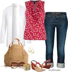 """""""Red, White and Blue for Summer"""" by archimedes16 on Polyvore"""