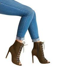 Women's Wild Pair Kraze Lace Up Open Toe Booties - Olive (Green) 9.5