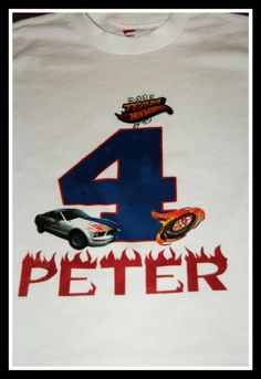 Personalized Hot wheels birthday number t-shirt