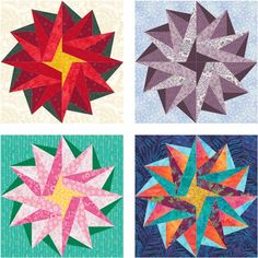 Poinsettia Star – free paper pieced quilt block pattern | Piece By Number