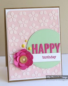 handmade birthday card ... pretty pastes ... white stenciled flowers on pale pink .. layered and shaped paper flower ... MFT