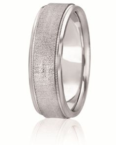 Raised Cross Satin Center Wedding Band With Milgra