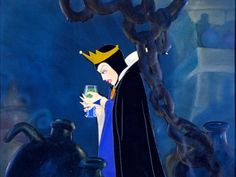 Queen Grimhilde drinks a potion turning herself into an old crone ~ Snow White and the Seven Dwarfs