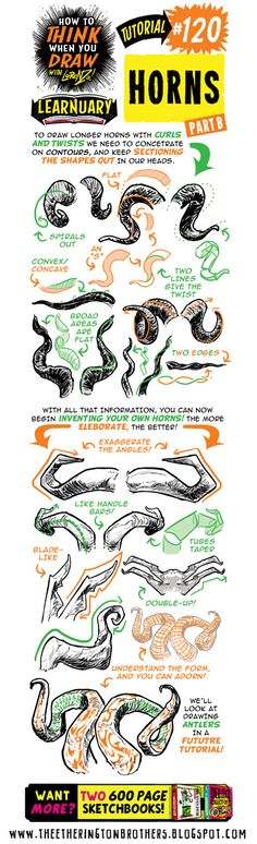 Today's tutorial for #LEARNUARY is How to THINK When You Draw HORNS ! PLUS! More BIG tutes and reference going up on our TWITTER ALL TH...