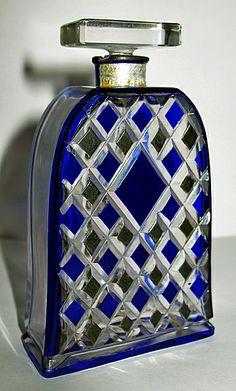 Rare French Art Glass Perfume Bottle for Jean Stuart