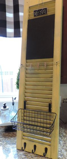 Old shutter turned kitchen command center by Huelabdesigns on Etsy