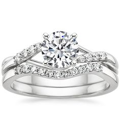 Unique matched engagement and wedding ring set. Platinum Chamise Diamond Ring from Brilliant Earth