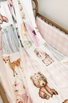 Woodland Crib Bedding, Woodland Nursery Girl, Baby Girl Nursery Themes, Woodland Baby, Nursery Ideas, Safari Nursery, Nursery Prints, Baby Girl Bedding Sets, Girl Nursery Bedding