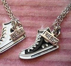 Who ever likes converse should get these with there bff Bff Necklaces, Best Friend Necklaces, Best Friend Jewelry, Friendship Necklaces, Cute Necklace, Friendship Poems, Best Friend Outfits, Best Friend Goals, Best Friends
