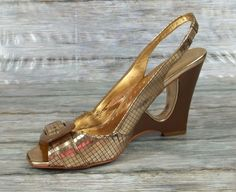BCBG Slingbacks Heels Womens Size 7 B Metallic Gold Shoes #BCBG #Slingbacks