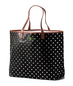 Lands' End Print Coated Canvas Large Shopper  Whether you're exploring a new city or running around on your home turf, this cute yet cavernous dotty carryall will be your go-to bag. Wipeable coated canvas and a secure snap closure keeps it super-practical. Spring for the custom monogram for a personalized touch. Also in midnight sky dot and desert dot.  To buy: $68, landsend.com.