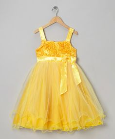 Take a look at this Yellow Rosette Dress - Toddler & Girls by Shanil on #zulily today!