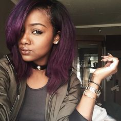 Preferred Human Hair Purple Lace Front Short Bob Wigs for Women Bob Hairstyles, Straight Hairstyles, Purple Hair Black Girl, Black Girls, Hair Inspo, Hair Inspiration, Curly Hair Styles, Natural Hair Styles, Short Bob Wigs