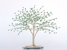 "Love Birds Beaded Wire Tree Sculpture Wedding Cake Topper 6.5"" CUSTOMIZABLE pearl gold green- MADE to Order. $90.00, via Etsy."