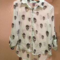 Long sleeve button up blouse Mint colored button down collared blouse with skulls Khols Tops Button Down Shirts