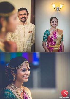South Indian bride. Kanchipuram silk sari.Temple jewelry. Braid with fresh flowers. Tamil bride. Telugu bride. Kannada bride. Hindu bride. Malayalee bride.