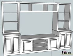 Build this stylish media center for about $300. Free DIY plans include media center and toy storage drawers.