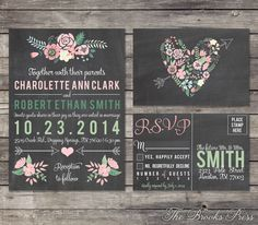 Chalkboard Pastel Floral Wedding Invitation and by BrooksPress, $15.00