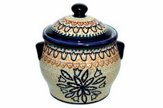 "Polish Pottery Fall Moon Medium Canister . $62.50. 4.2 cup capacity, 6.5"" high"
