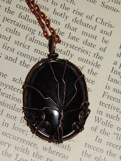 Genuine Black Agate Tree of Life Necklace - Copper Wire Wrapped Pendant with Agate Cabochon Crystal - Tree of Life Necklace - Reiki Pendant Gemstone Necklace, Copper Necklace, Wire Wrapped Pendant, Wire Wrapped Jewelry, Crystal Tree, Copper Wire, Antique Copper, Tree Of Life Necklace, Black Agate