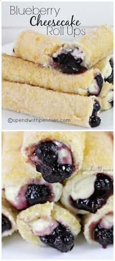 Blueberry Cheesecake Roll Ups! 10 slices white bread 1 can blueberry pie filling ⅓ cup melted butter ⅔ cup sugar 1 lemon 4oz cream cheese 3 tablespoons powdered sugar