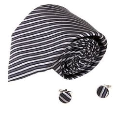YAB1A01 Multi-Colored Stripe Various Gift Mens Silk Tie Cufflinks 2PT By Y&G