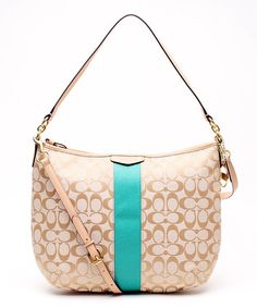 04aa8bd7834151 Another great find on  zulily! Light Khaki   Emerald Signature Stripe  Convertible Hobo