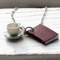 Book and Tea Cup Necklace Burgundy Maroon Book by BeanDoll on Etsy